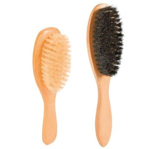 Wooden brush with natural bristles