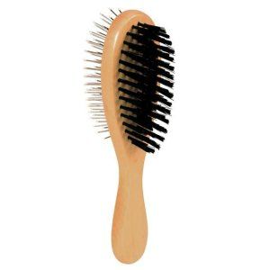 Wooden Brush with nylon and wire bristles, double sided