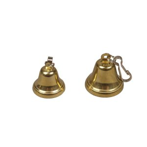 Bell with snap hook, brassed